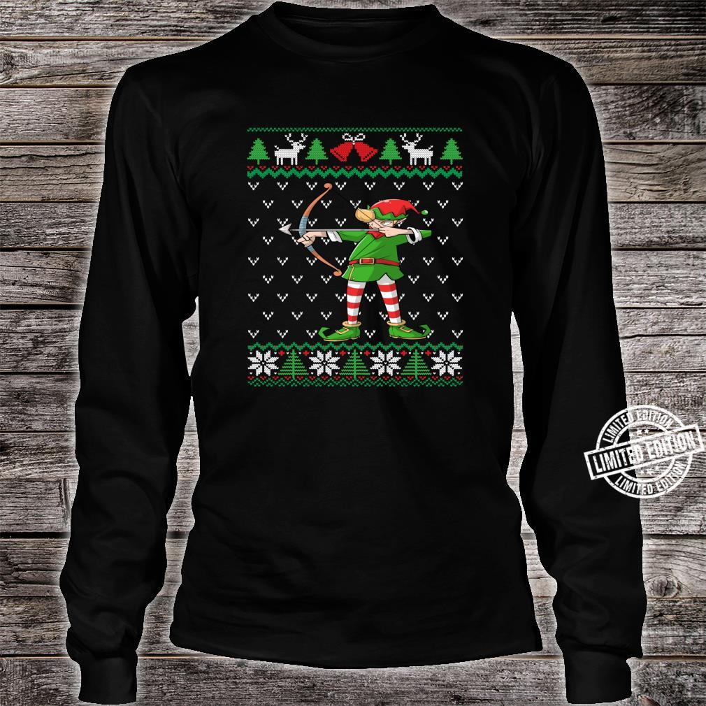 Archery Elf Archer Ugly Christmas Bow Hunting Shirt long sleeved