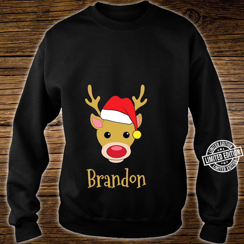 Brandon Christmas RedNosed Reindeer Personalized Name Shirt sweater