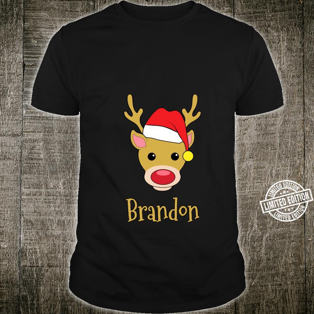 Brandon Christmas RedNosed Reindeer Personalized Name Shirt
