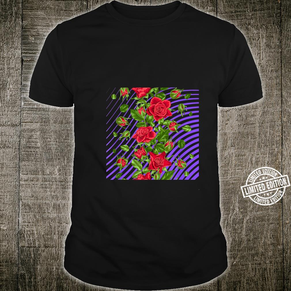 Casual And Red Roses Purple Pattern Summer Shirt