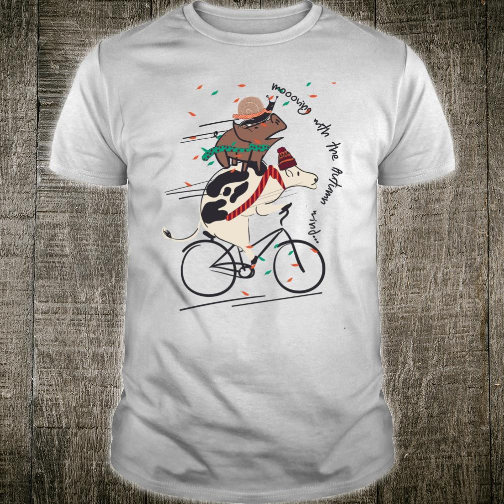 Cute Cow Pig Snail Riding Bicycle Autumn Wind Christmas Shirt