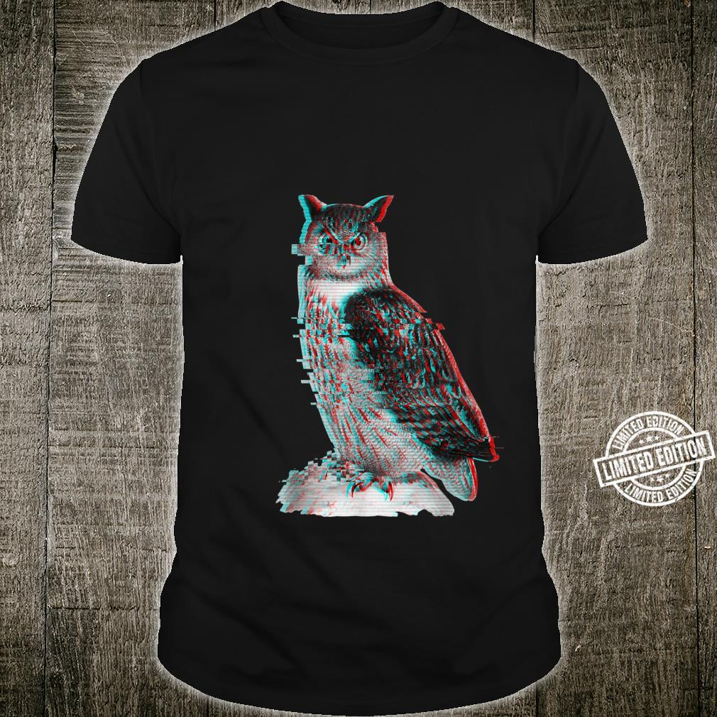 Glitched Owl Cool Novelty Design for Guys Shirt
