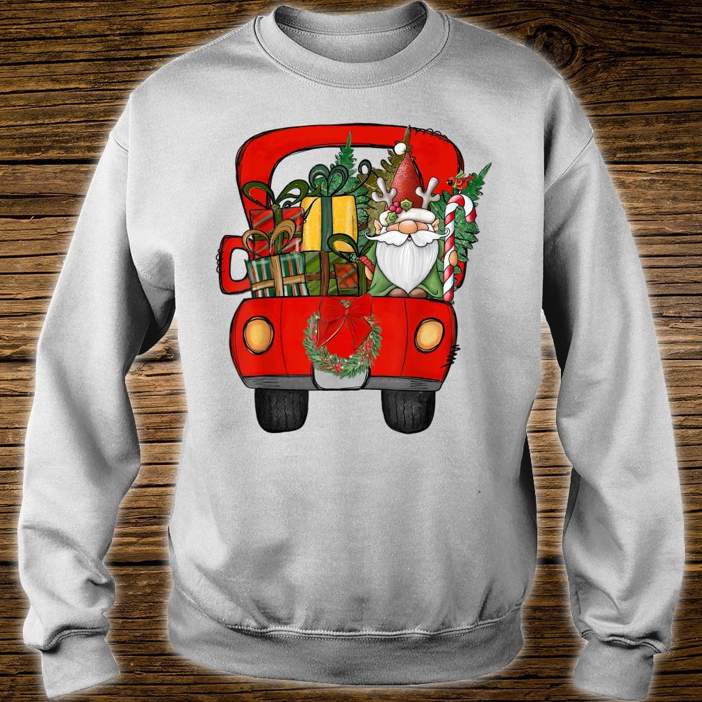 Red Truck Gnome Santa Claus Box Merry Christmas Holiday Shirt sweater