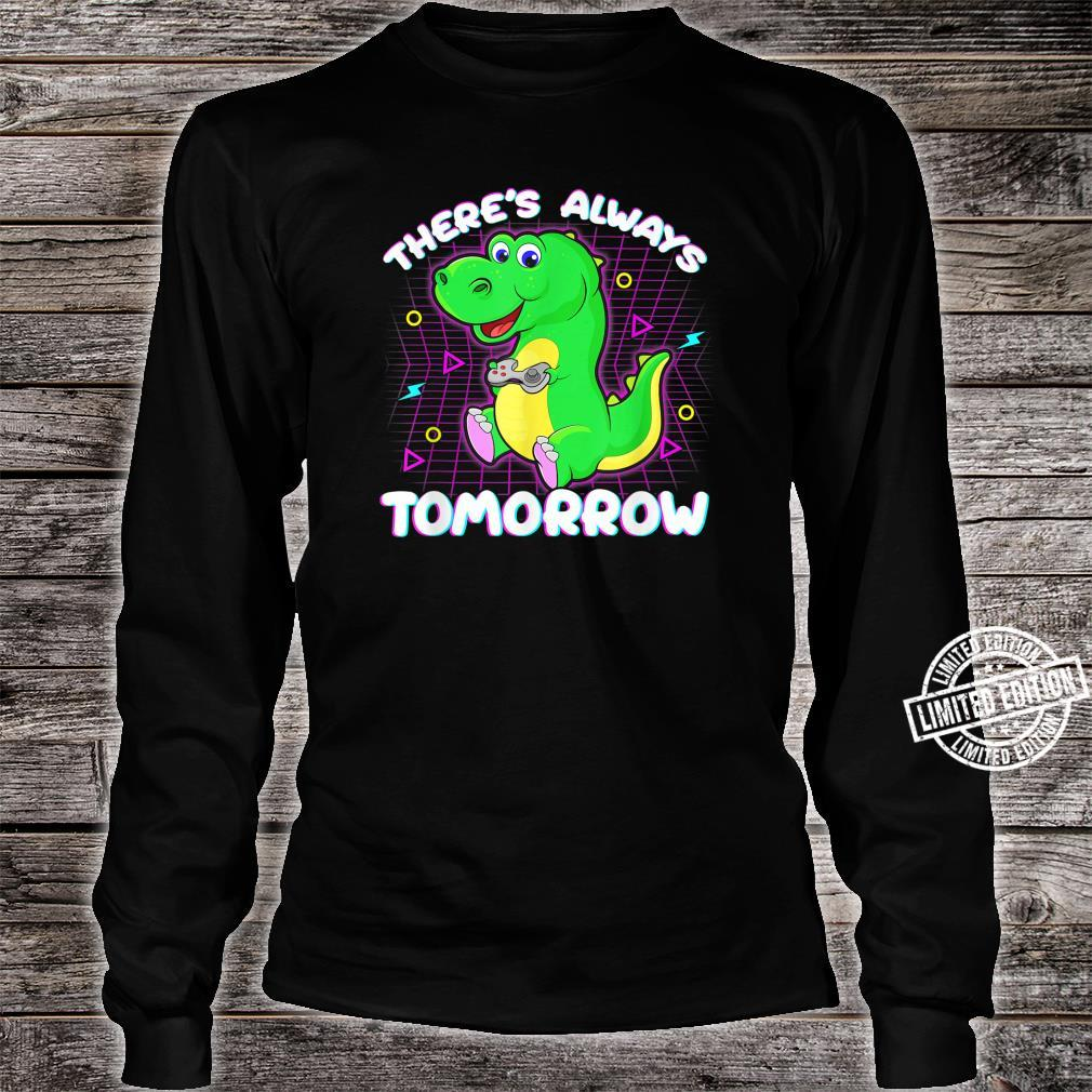 Vaporwave Synthwave Glitch Gaming Dino Retro 1980s 1990s Shirt long sleeved