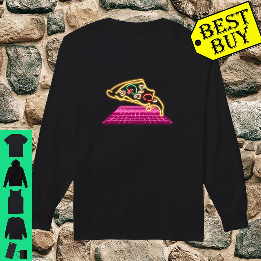 80s Pizza Slice with melting Cheese and Veggies Shirt long sleeved
