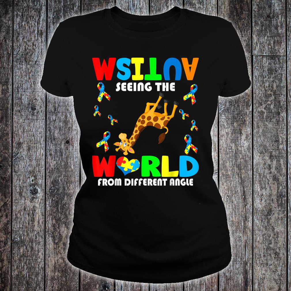Autism Seeing The World From Different Angel Giraffe Autism Shirt ladies tee