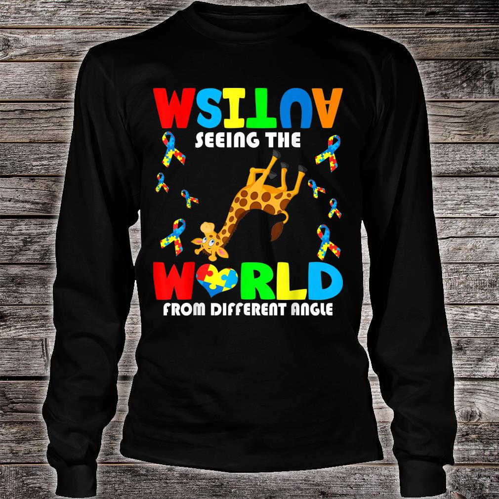 Autism Seeing The World From Different Angel Giraffe Autism Shirt long sleeved