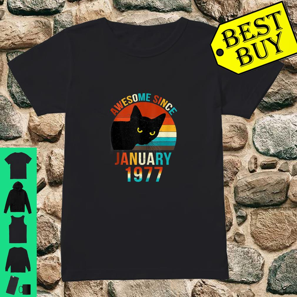 Awesome Since January 1977 43rd Birthday Gift Cat Shirt ladies tee