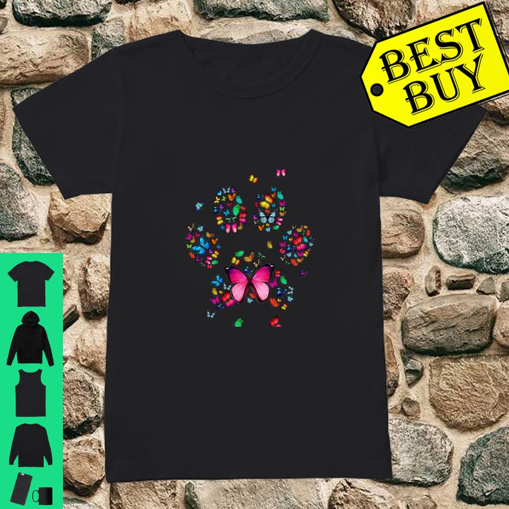 Cat Dog Mom Paw Print of Butterfly Shirt ladies tee