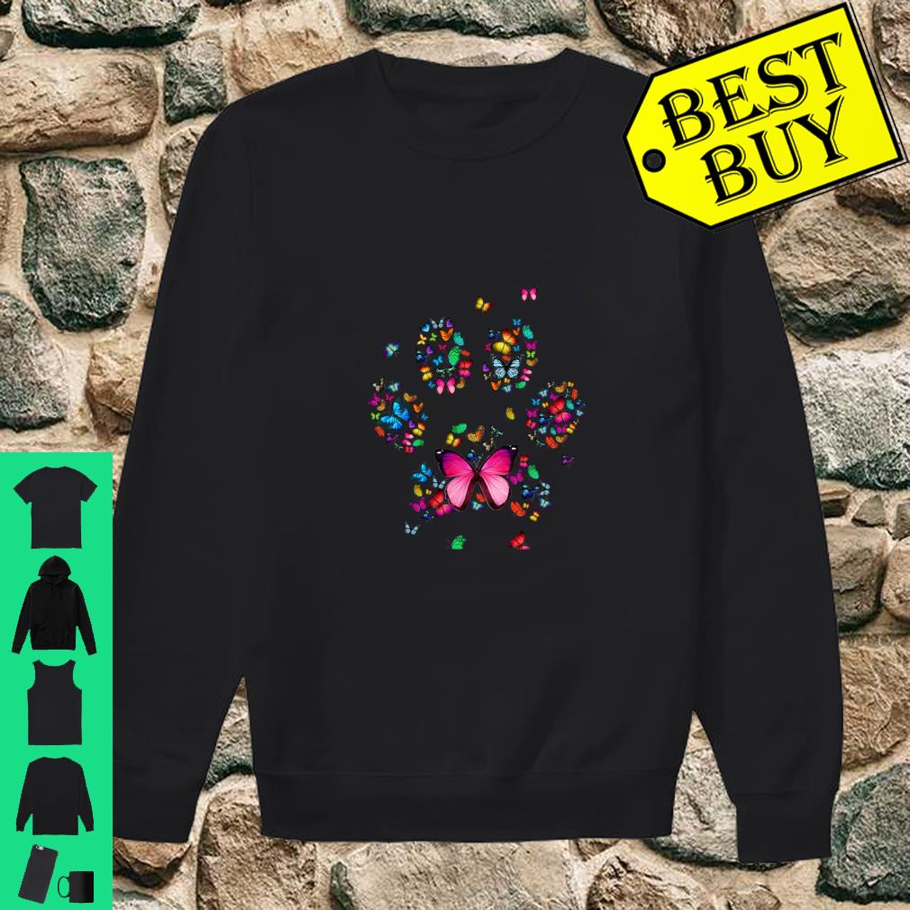 Cat Dog Mom Paw Print of Butterfly Shirt sweater