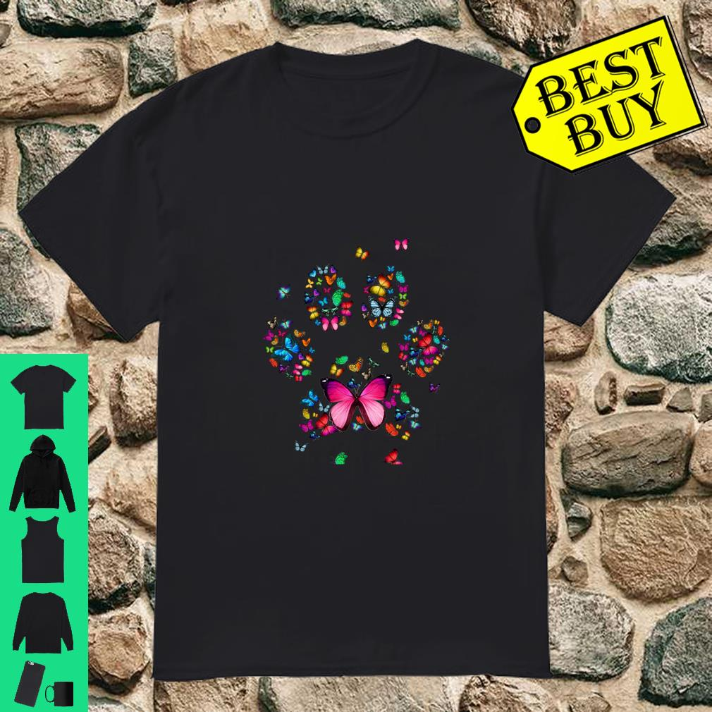 Cat Dog Mom Paw Print of Butterfly Shirt