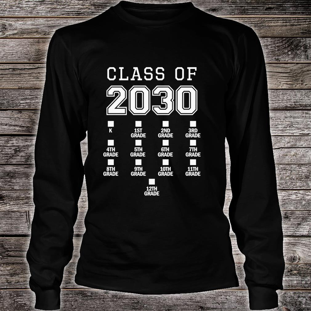 Class of 2030 Grow With Me Space for Checkmarks Shirt long sleeved