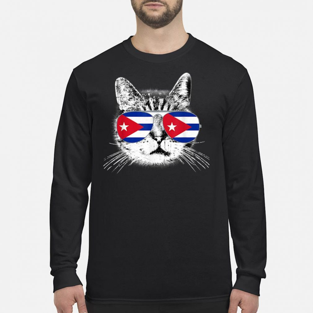 Cuba Cuban Flag Cat Country Pride Vintage Gift Shirt long sleeved