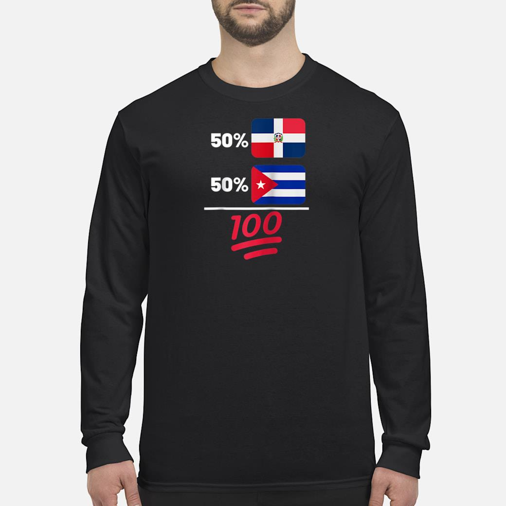 Cuban Plus Dominican Mix Flag Heritage Gift Shirt Long sleeved