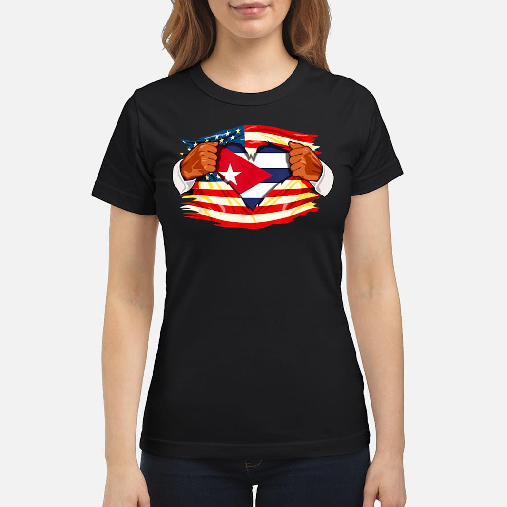Cubans Who Live in America Cuba Flag Gift Shirt ladies tee
