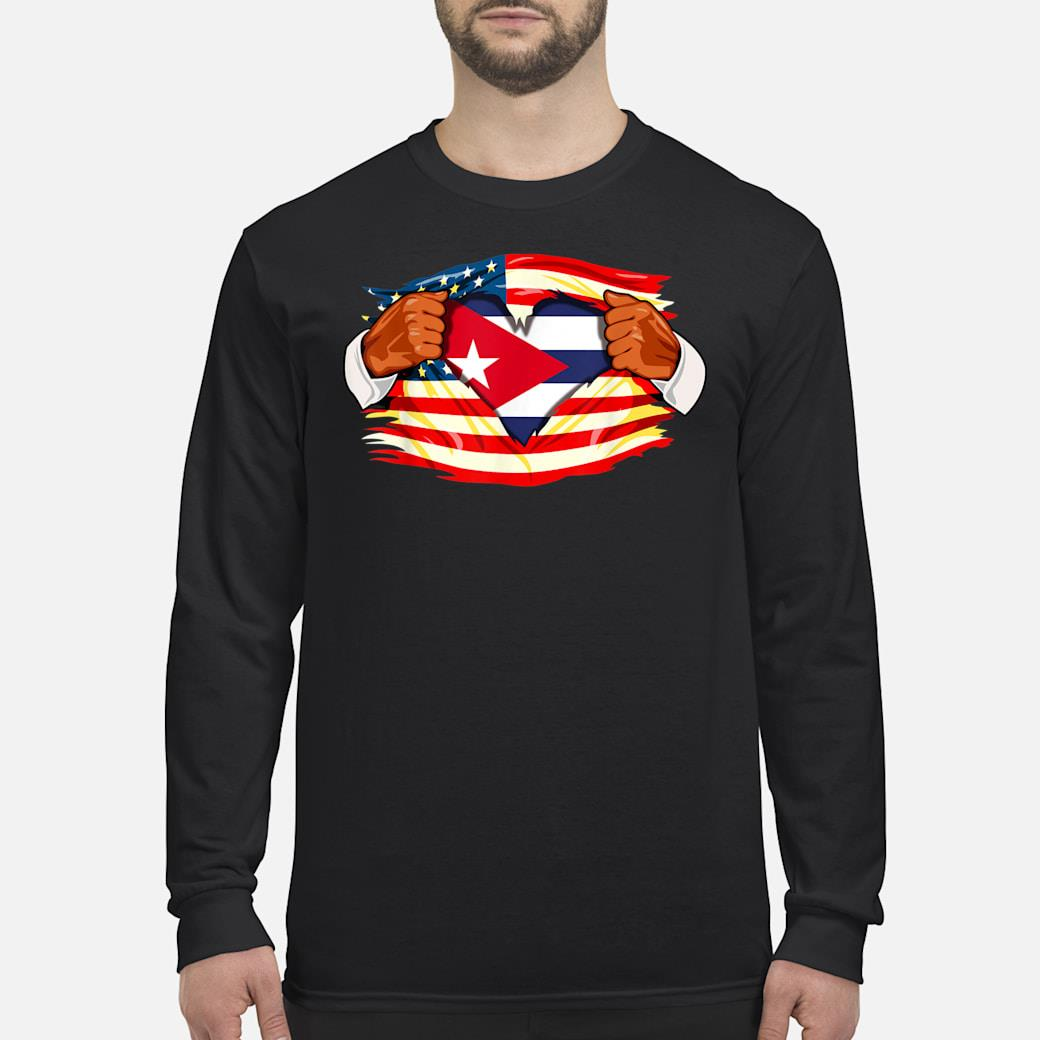 Cubans Who Live in America Cuba Flag Gift Shirt Long sleeved