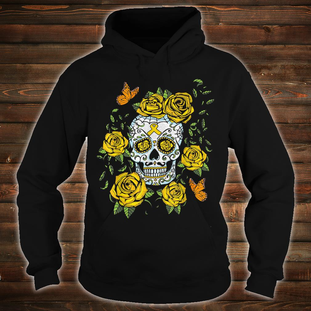 Day of the Dead Sugar Skull Childhood Cancer Awareness Shirt hoodie