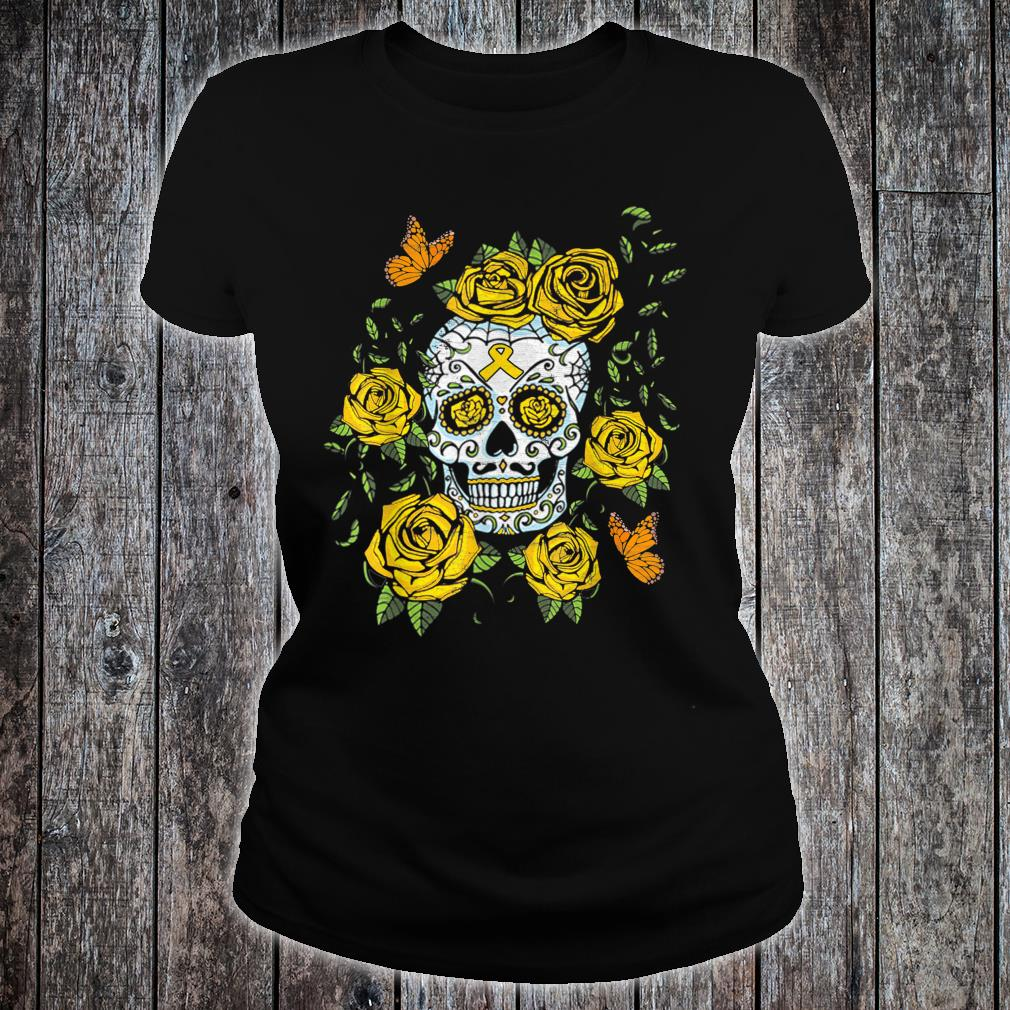 Day of the Dead Sugar Skull Childhood Cancer Awareness Shirt ladies tee