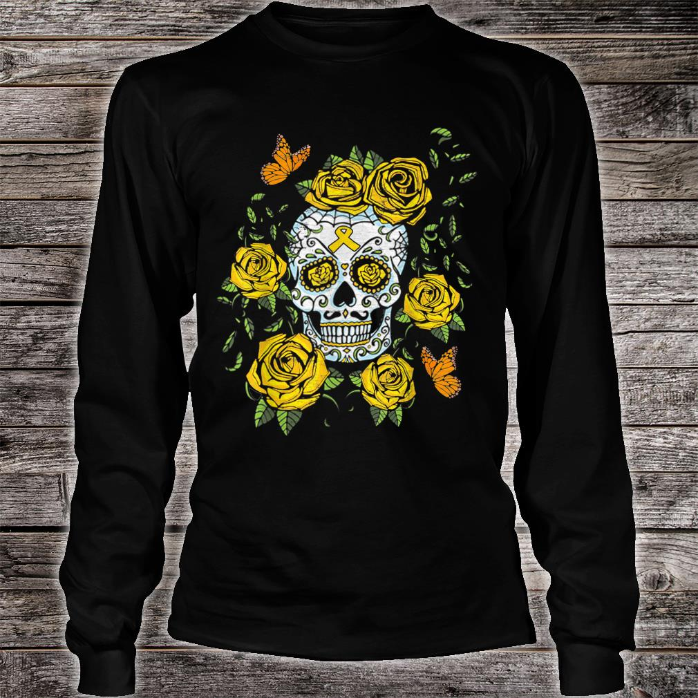 Day of the Dead Sugar Skull Childhood Cancer Awareness Shirt long sleeved