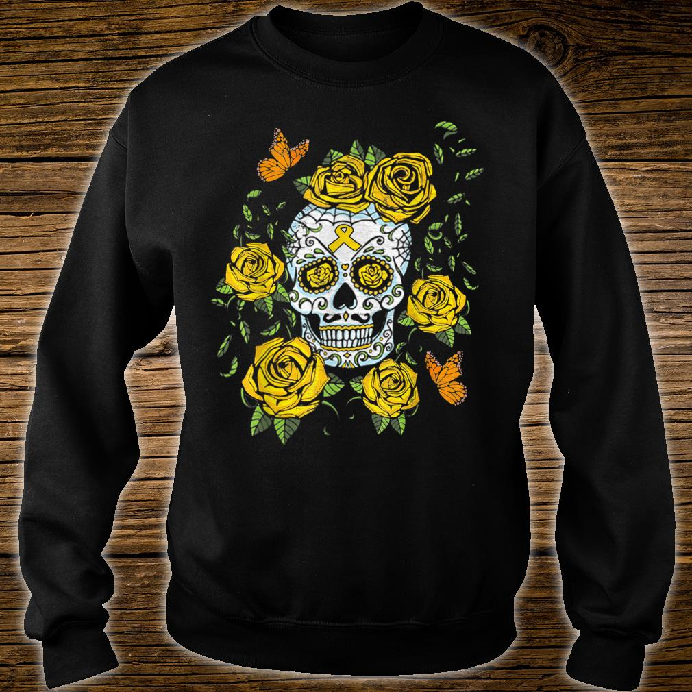 Day of the Dead Sugar Skull Childhood Cancer Awareness Shirt sweater