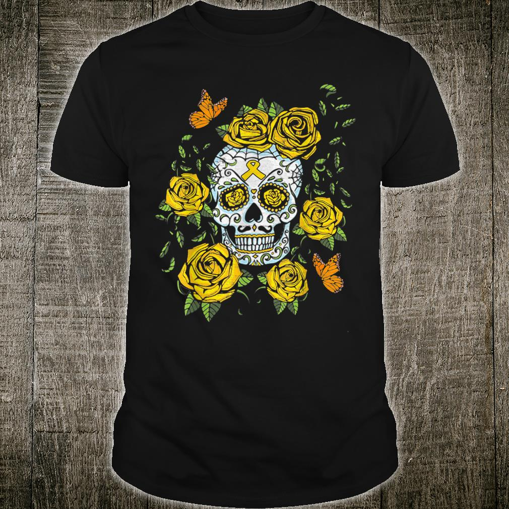 Day of the Dead Sugar Skull Childhood Cancer Awareness Shirt