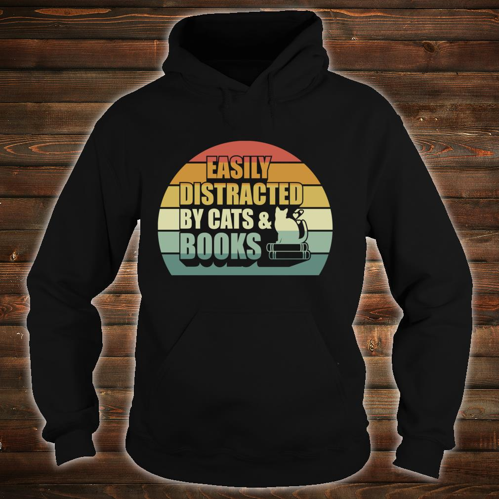 Easily Distracted By Cats And Books Cute Book Reader Shirt hoodie