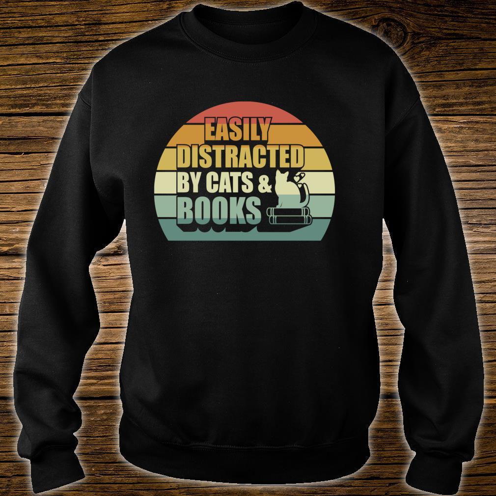 Easily Distracted By Cats And Books Cute Book Reader Shirt sweater