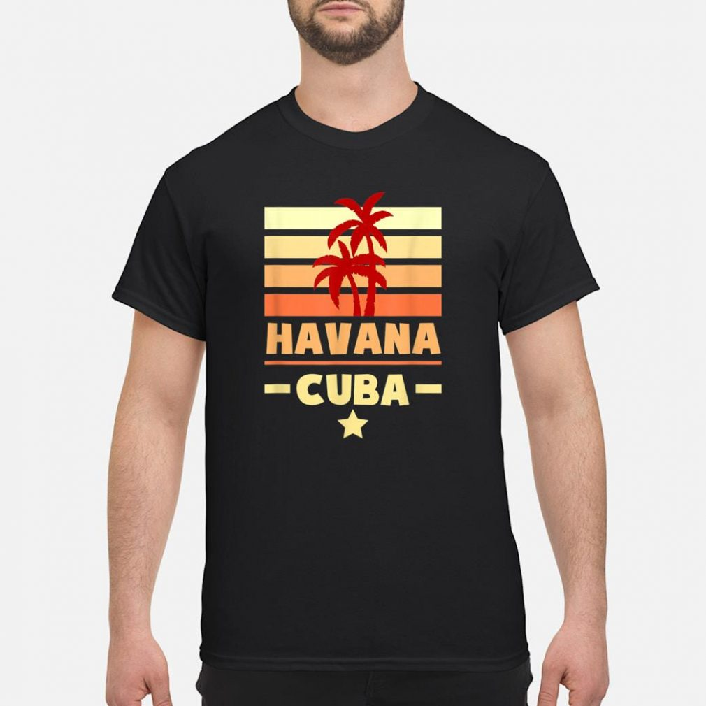 Havana Cuba Sunset Colors with Stripes and Star gift Shirt