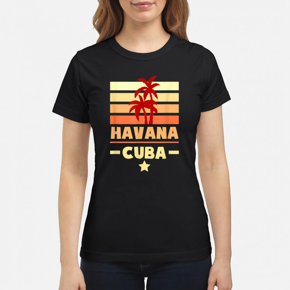 Havana Cuba Sunset Colors with Stripes and Star gift Shirt ladies tee