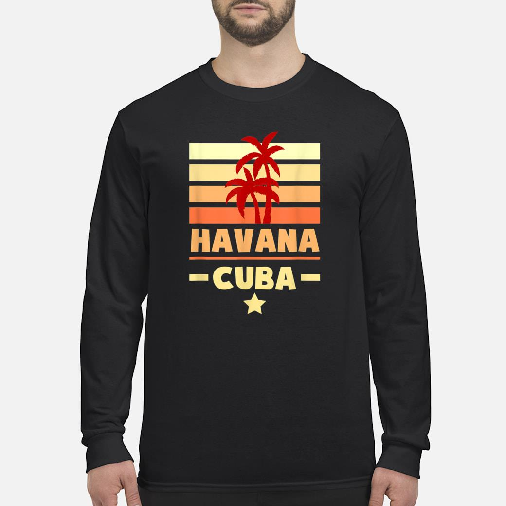 Havana Cuba Sunset Colors with Stripes and Star gift Shirt long sleeved