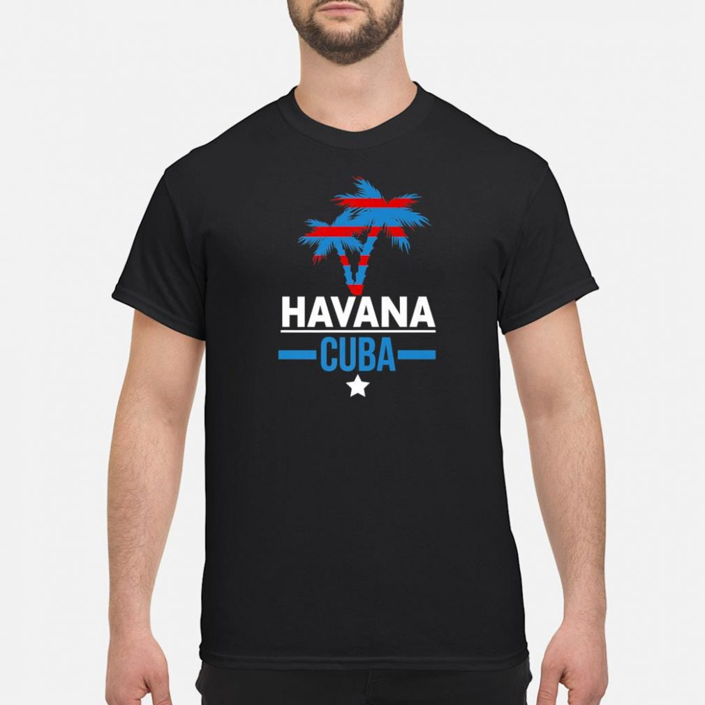 Havana Cuba with Palm Tree and Cuban Flag Colors Shirt