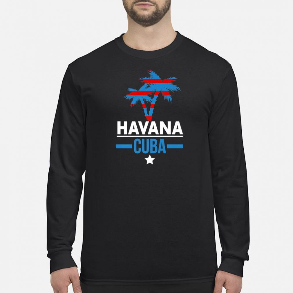 Havana Cuba with Palm Tree and Cuban Flag Colors Shirt long sleeved