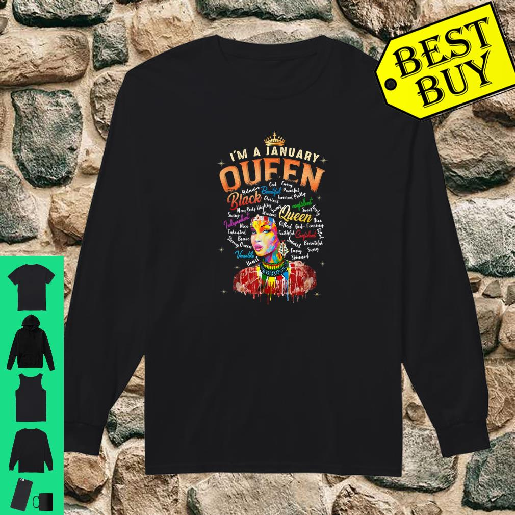 I'm January Queen January Birthday Gifts African Black Queen Shirt long sleeved