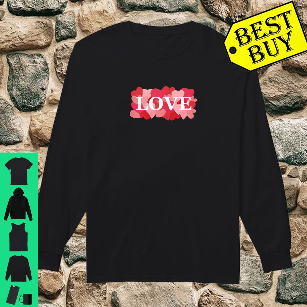 LOVE with Pink and Red Hearts Valentine's Day Love Shirt long sleeved